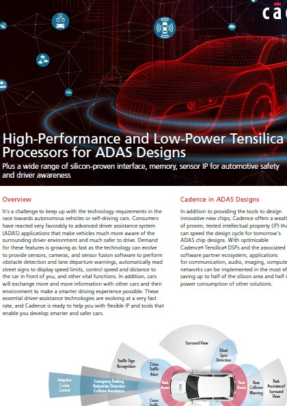 High-Performance and Low-Power Tensilica Processors for ADAS Designs