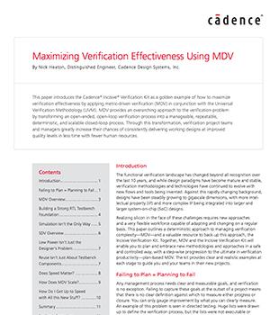 Maximizing Verification Effectiveness Using MDV