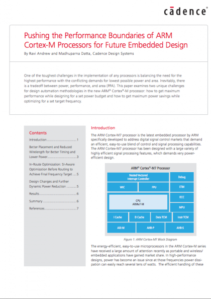 Pushing the Performance Boundaries of ARM Cortex-M Processors for Future Embedded Design