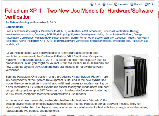 Blogger Richard Goering on Hardware/Software Verification with Palladium XP II