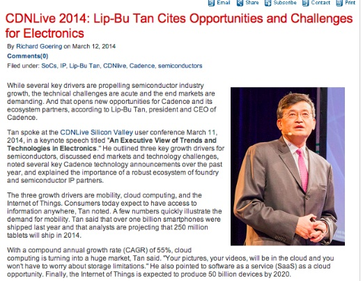 CDNLive 2014: Lip-Bu Tan Cites Opportunities and Challenges for Electronics