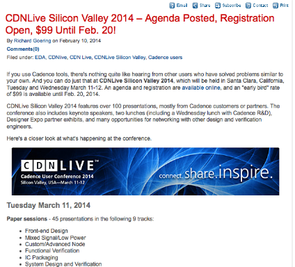Blogger Richard Goering previews CDNLive Silicon Valley 2014