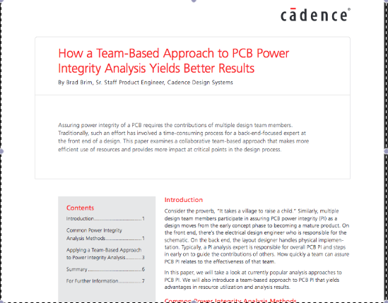 White Paper: How a Team-Based Approach to PCB Power Integrity Analysis Yields Better Results