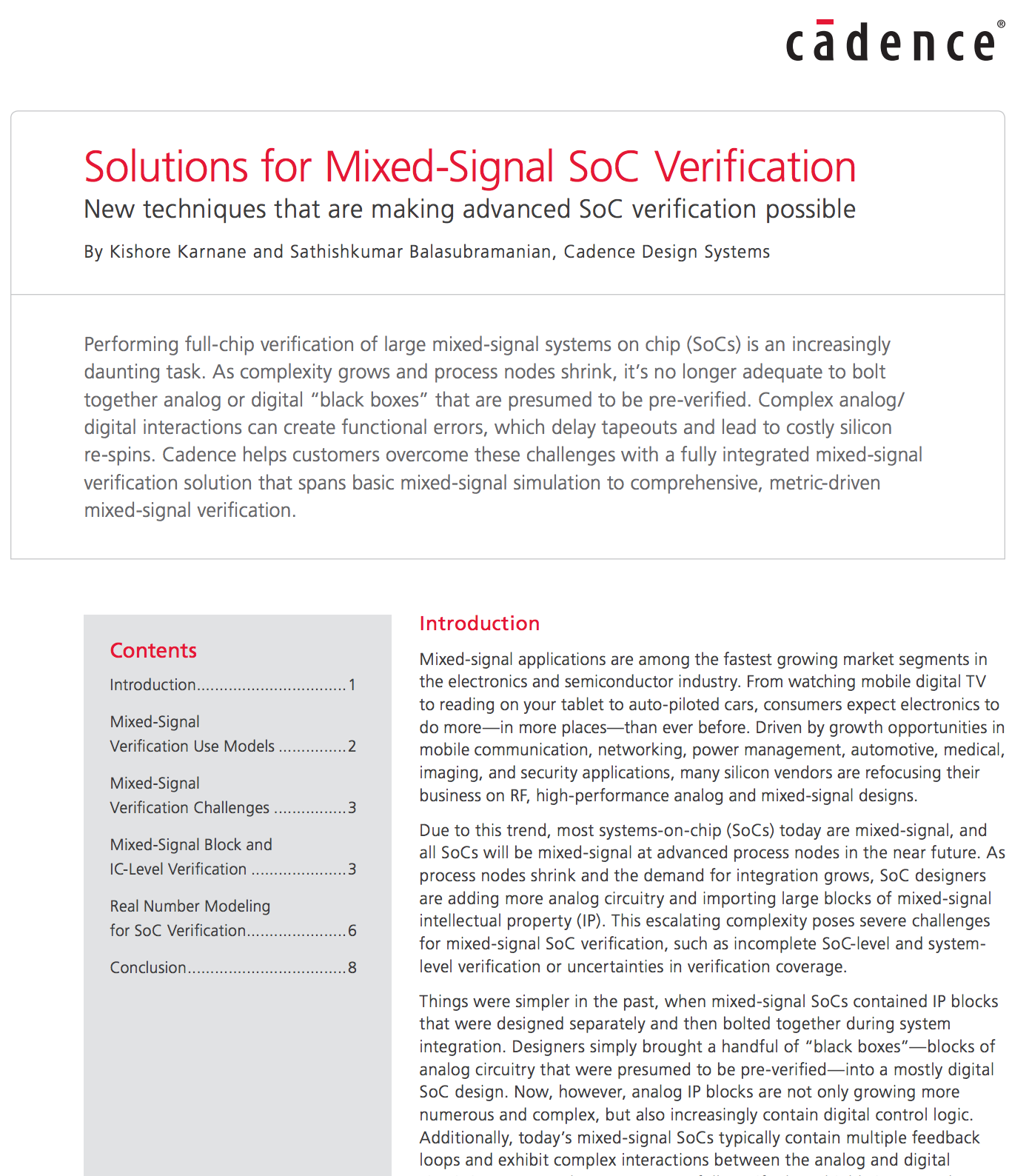White Paper: Solutions for Mixed-Signal SoC Verification