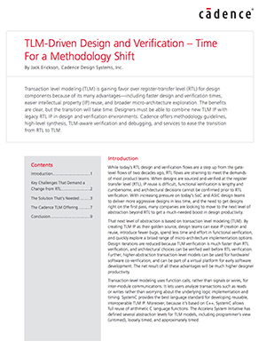 White Paper: TLM-Driven Design and Verification – Time  For a Methodology Shift